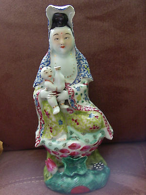 Chinese Porcelain Famille Rose Kwan Yin with CHILD