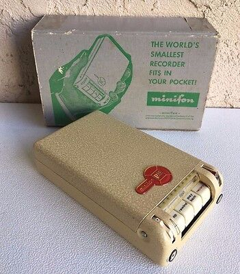 Minifon P55-L Vintage Spy Recorder Made in Germany Original Factory Box Untested