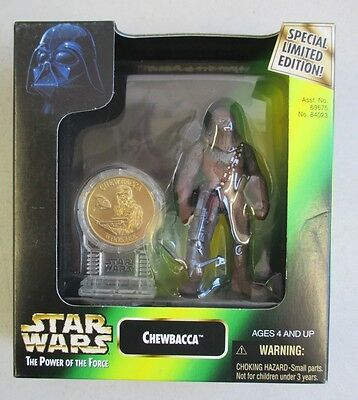 Mib 1997 Hasbro Star Wars Power Of The Force Chewbacca Action Figure W/ Coin