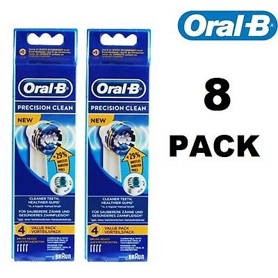8 Precision Clean Oral B Replacement Toothbrush heads 29% more bristles