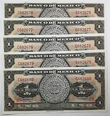 MEXICO-(-10-V-1967-AMERICAN BANK NOTE) 1 PESO-LOT of 5 NOTES-CRISP UNCIRCULATED