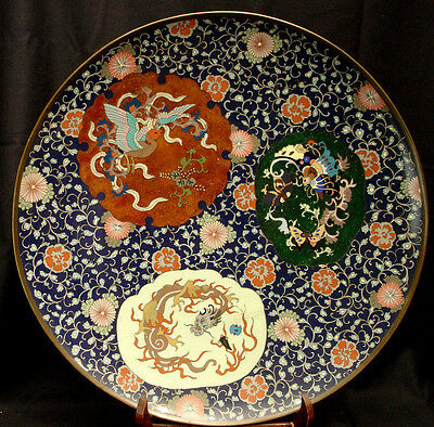 """18"""" Japanese Meiji Period Cloisonne Plate Charger"""