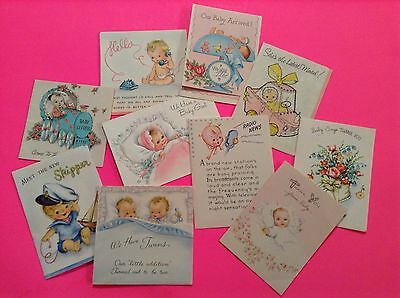 10 Vintage Baby Announcements/Shower Card/Thank You Greeting Cards