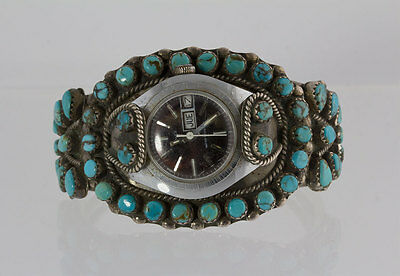 Old Vintage Navajo Native American Sterling Silver Turquoise Stone Cuff Watch