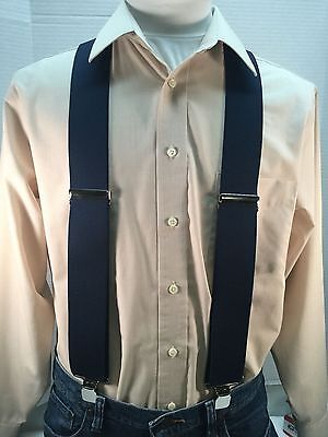 "New, Men's, Navy Blue, XXL, 2 "", Adj. Suspenders / Braces,  Made in the USA"