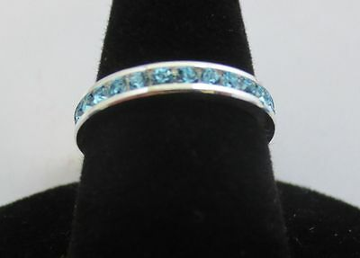 Size 10 Sterling Silver Plated Stackable March Aquamarine Eternity Ring