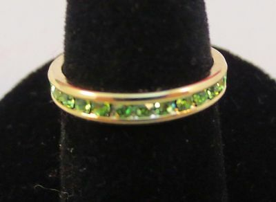 Size 9 14Kt Gold Ep Stackable August Peridot Wedding Eternity Ring