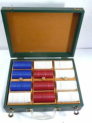 Vintage Poker Chips with Green Traveling Case