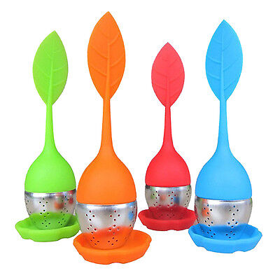 NT Cute Silicone Stainless Steel Leaf Tea Strainer Teaspoon Infuser Spice Filter