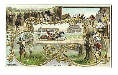 1892 Trade Card Arbuckle Brothers Coffee Kentucky Pictorial History Horse Racing