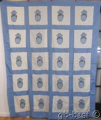 """Oh in blue! c 30s Overall Sam APPLIQUE Quilt Top 90"""" x 72"""" Juvenile Feedsack"""