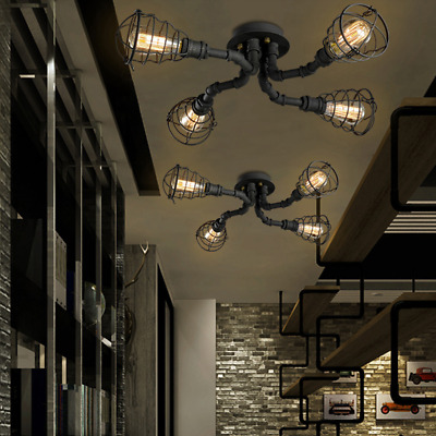 4 Lights Industrial Cage Pipe Ceiling Lighting Lamp Steampunk Pendant Lamp