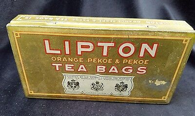 Old Advertising Tin Lipton Orange Pekoe Tea Bags Tea Planter Ceylon Hoboken NJ