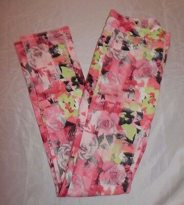 JUSTICE Premium Size 14 Pink Floral Jeans Simply Low Skinny Stretch Girls