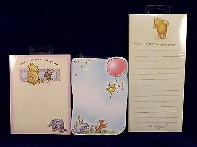 Winnie The Pooh Note Pads Lot of 3 Different Styles Unused Sealed Michel & Co