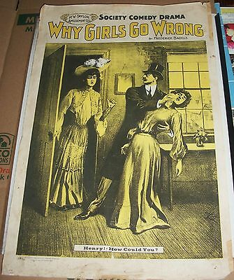 Antique why girls go wrong  movie poster frederick backus society comedy drama