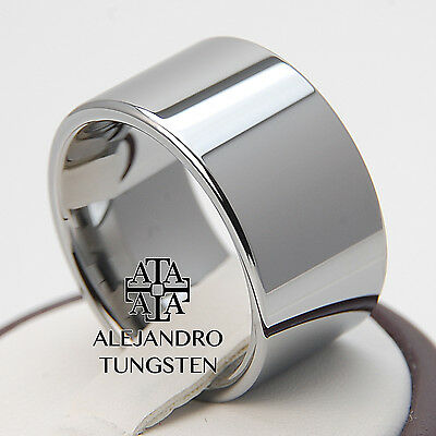 Tungsten Ring Wedding Band Motorcycles 12MM Radiant Polished Size 8.5 #LLA