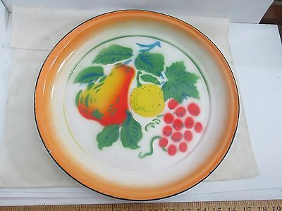 """Vintage Enamelware Tray 13 7/8"""" OD Round Metal Platter with Colorful Fruit"""