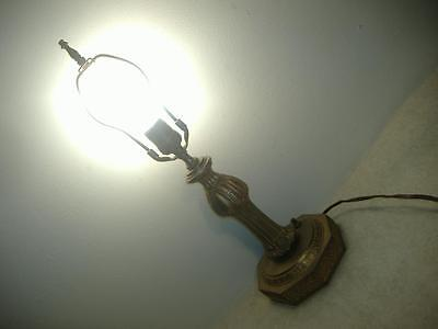 Antique SSNY BRASS TONE CAST SPELTER METAL TABLE LIGHT LAMP Depression Vintage