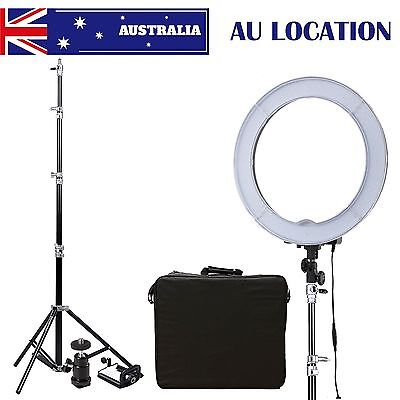 """Dimmable Diva LED Ring Light 14"""" 5500K With Diffuser Light Stand For Photo AU"""