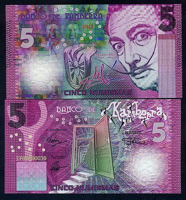 Kamberra, 5 Numismas, 2017, UNC > Purple Salvador Dali, New Color for 2017