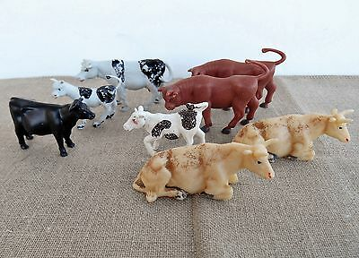 Set Of 8 Vintage Plastic Miniature Toy Cows and Bulls Dollhouse or Train Village