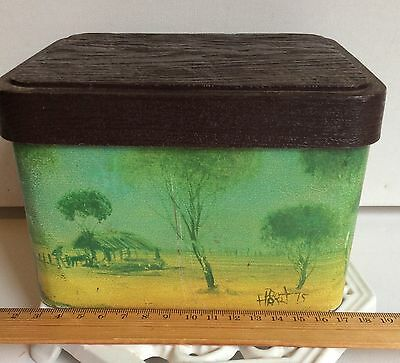 """Pro Hart """"The Hut"""" 1975 Willow Australia Rectangular Biscuit Tin Outback Series"""