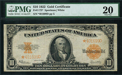 1922 $10 Gold Certificate FR-1173* - STAR NOTE - Graded PMG 20 - Very Fine