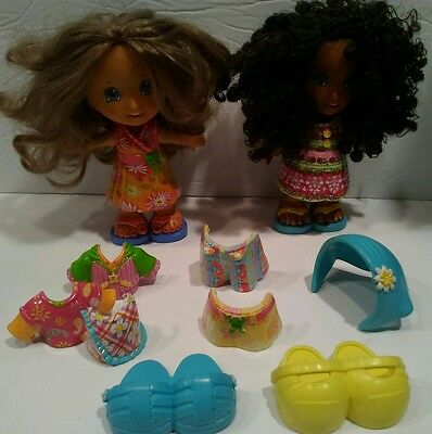 lot of 12 Fisher Price Snap & Style Dolls 2 dolls 5 extra clothing 2 pairs shoes