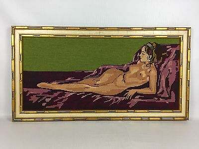LARGE Vintage Handcrafted NUDE WOMAN Needlepoint Cross Stitch Framed Wall Art