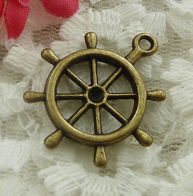 free ship 30 pieces bronze plated steering wheel charms 29x23mm #2013
