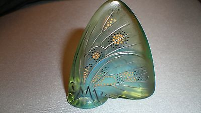 Lalique France Enameled Butterfly Art Glass - Green - Signed - Mint