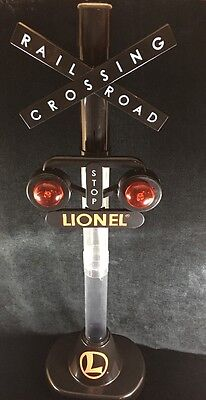 LIONEL 4 ft Railroad Crossing Sign Coin Bank Flashing Lights & Train Sounds Used