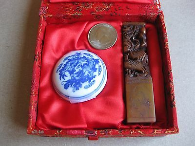 Antique Chinese  Stone Hand Carved  Dragon Seal- Figurine
