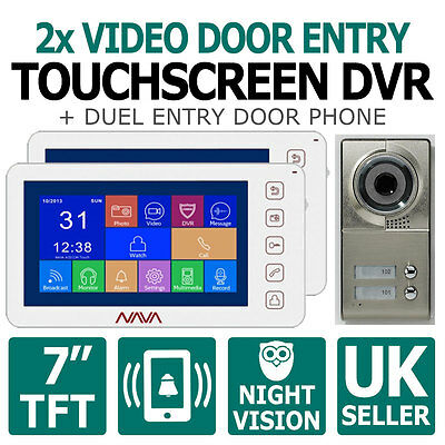 Twin Door Entry Access Control Touch Screen Video DVR Intercom + Phone 2 Flats