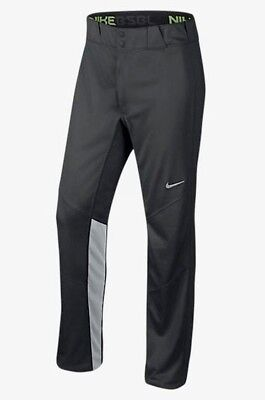 NEW Mens L XL 2X NIKE Vapor 1.0 Dk Lt Grey Long Unhemmed Baseball Softball Pants