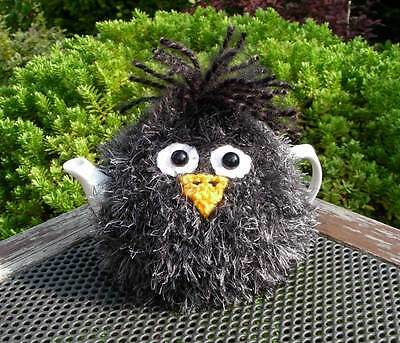 Hand Knitted Fluffy Blackbird Tea Cosy – for small 2 cup teapot