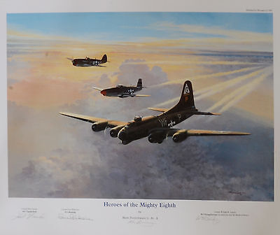 """""""Heroes of the Mighty Eighth"""" signed by three very famous USAAF WW2 Pilots"""