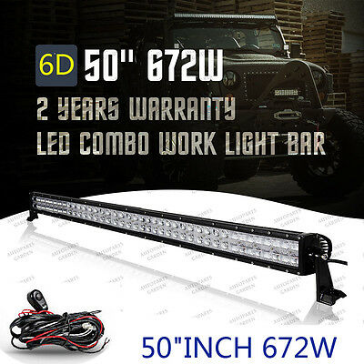"6D 50""INCH 672W LED Combo Work Light Bar Offroad Driving Lamp 4WD Truck SUV UTV"