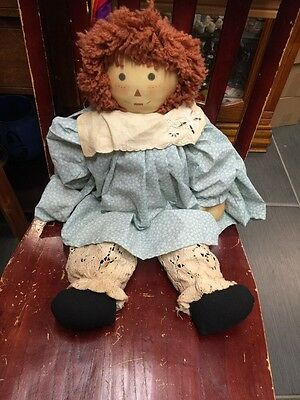 23 Inch Vintage Raggedy Ann Doll White Outfit