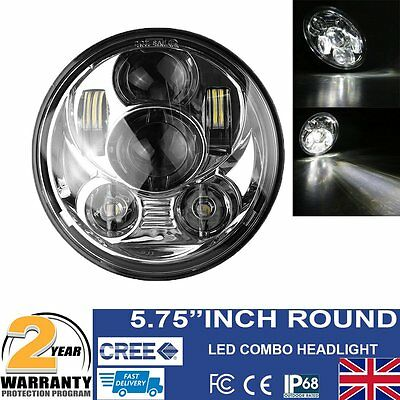 """5.75"""" Inch Motorcycle LED Headlight Daymaker Projector DRL Bulb For Harley UK"""