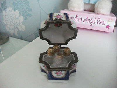 Pretty Trinket Box With 4 Perfume Bottles