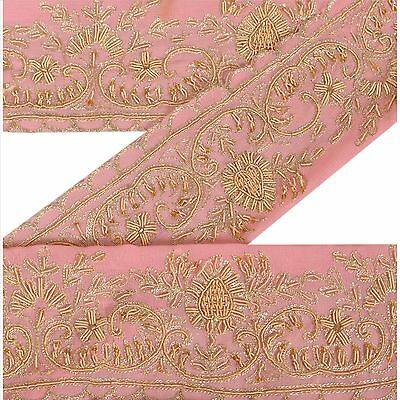 Vintage Sari Border Antique Hand Beaded 1 YD Indian Trim Sewing Pink Zari Lace