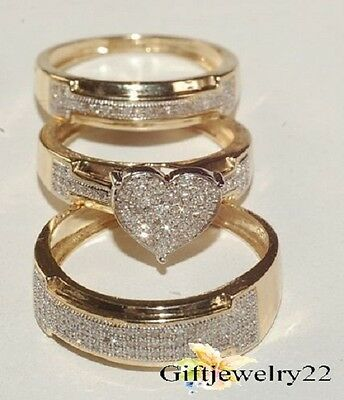 Diamond Trio Set His Hers Engagement Ring Wedding Band 10K Yellow Gold Over