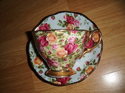 Mismatched Royal Albert Cup & Saucer Old Country Roses Chintz & Blue Damask