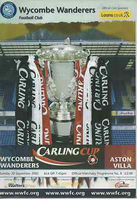 Wycombe Wanderers v Aston Villa 2005 2005/06 Carling Cup League Cup