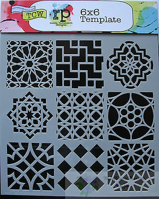 """Crafters Workshop MASK Stencil template 6"""" x 6"""" Mini Moroccan Tiles"""