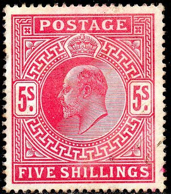 GB Stamps: 1902 SG 263 5s bright carmine mounted mint