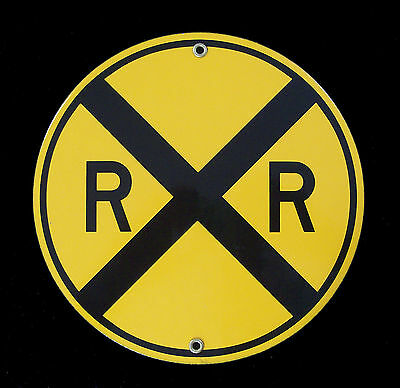 Yellow Railroad Crossing Porcelain Sign #57-1560