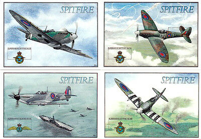 1990's SET OF ALL 4 SPITFIRE LIMITED EDITION COLOUR POSTCARDS UNUSED